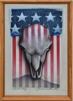 Trompe L'Oeil American Flag Animal Skull Pop Art Oil Painting by James Carter