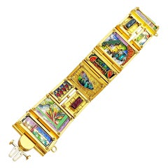 "James Carter ""Piece Unique"" 18KT YG, Enamel & Semi Precious Artisan Bracelet"