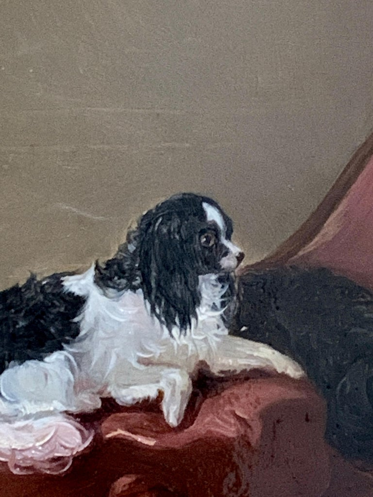 English 19th century portrait of two seated King Charles Cavalier Spaniels dogs - Painting by James Cassie