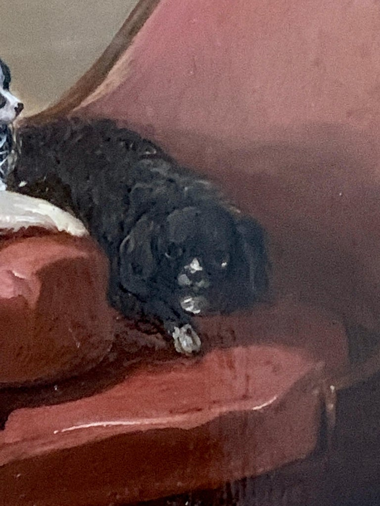English 19th century portrait of two seated King Charles Cavalier Spaniels dogs - Victorian Painting by James Cassie
