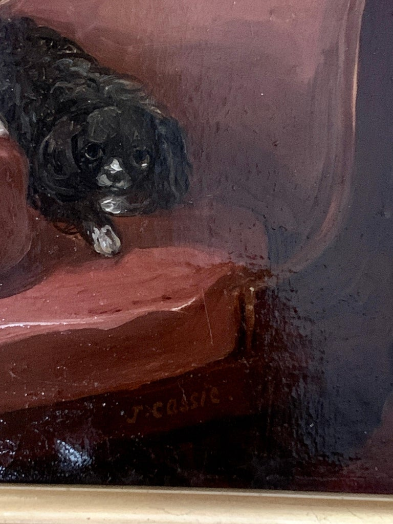 English 19th century portrait of two seated King Charles Cavalier Spaniels dogs - Brown Animal Painting by James Cassie