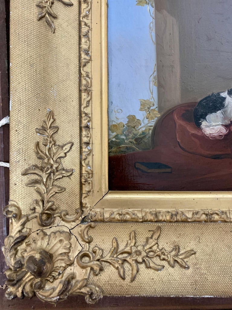 English 19th century portrait of two seated King Charles Cavalier Spaniels dogs For Sale 2