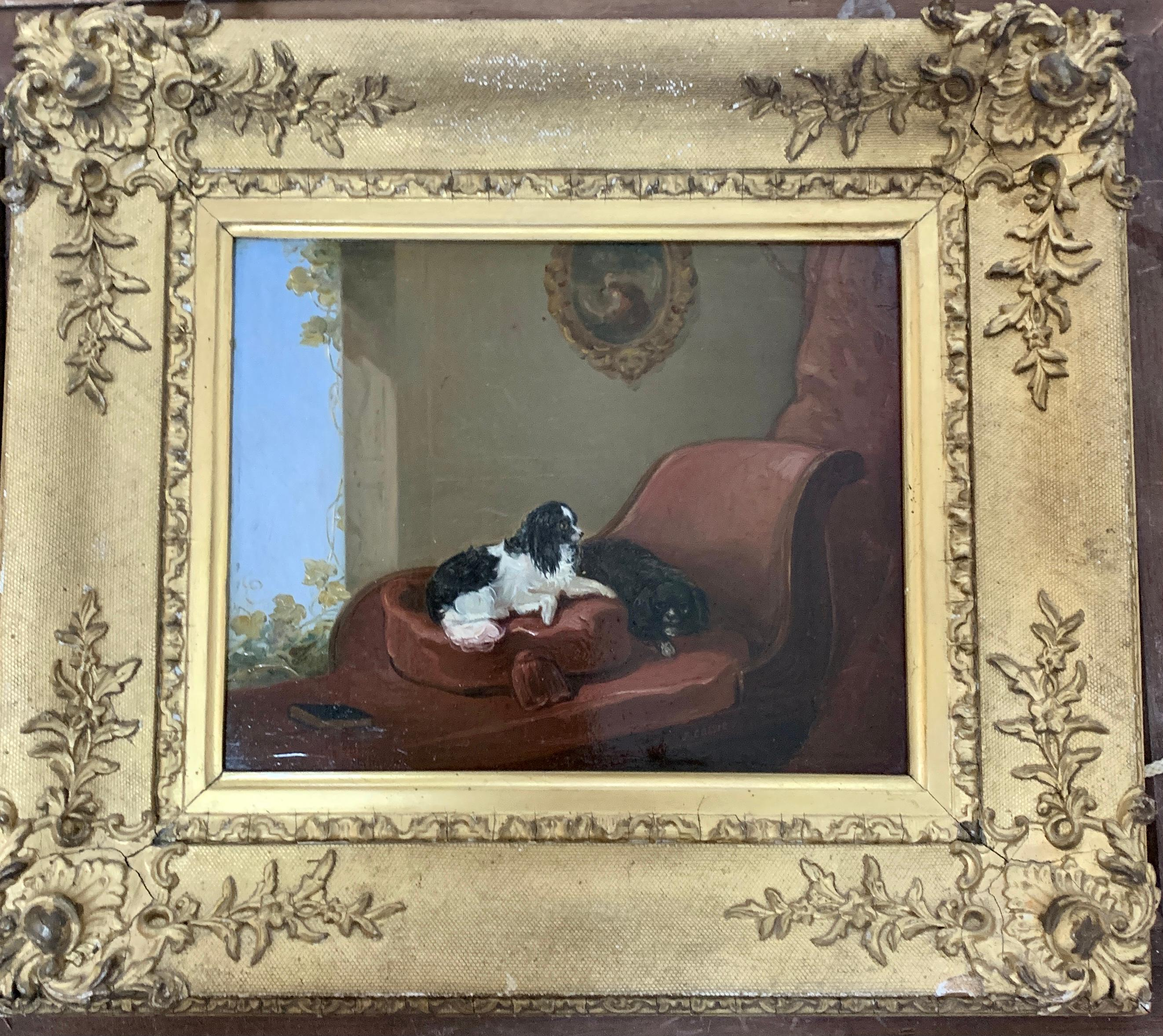 English 19th century portrait of two seated King Charles Cavalier Spaniels dogs