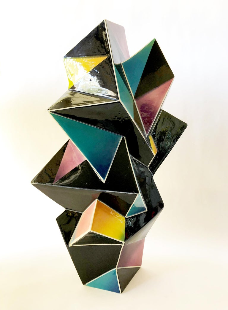 Rare, multi sided vase created by James Caswell of Santa Monica, California. Monumental vase measures 24.5