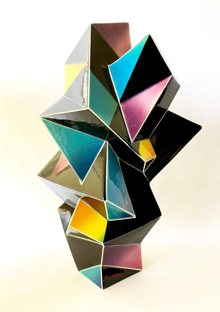 Mid-Century Modern James Caswell Davis 1987 California Postmodernist Sculptural Ceramic Vase For Sale