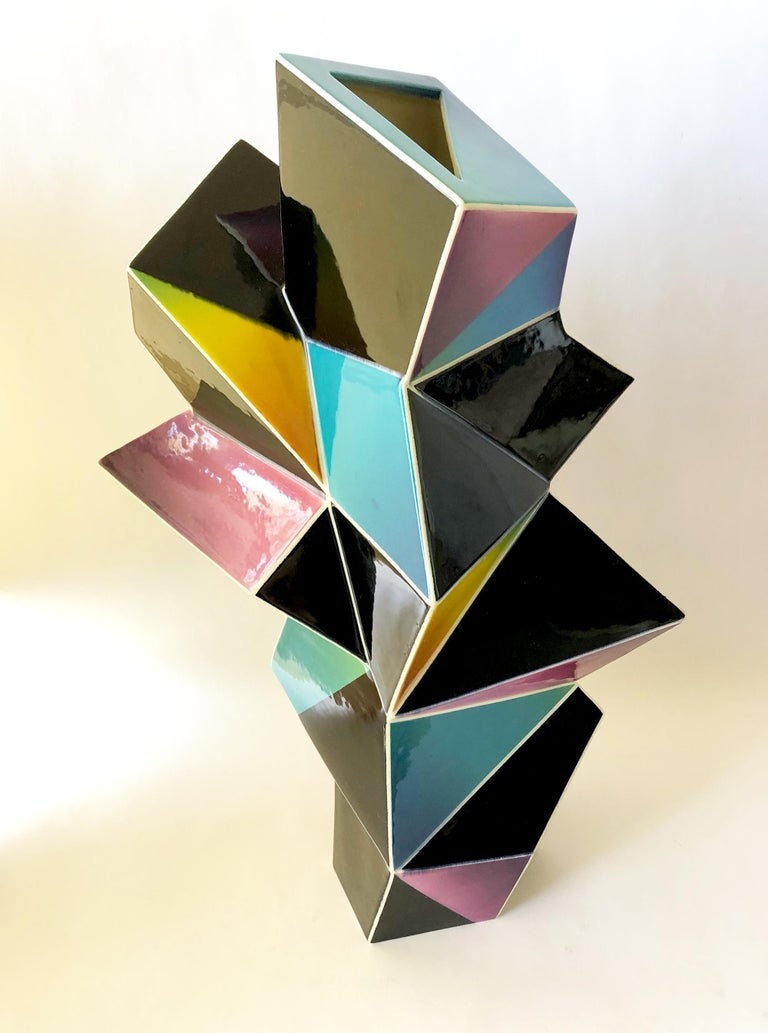 American James Caswell Davis 1987 California Postmodernist Sculptural Ceramic Vase For Sale