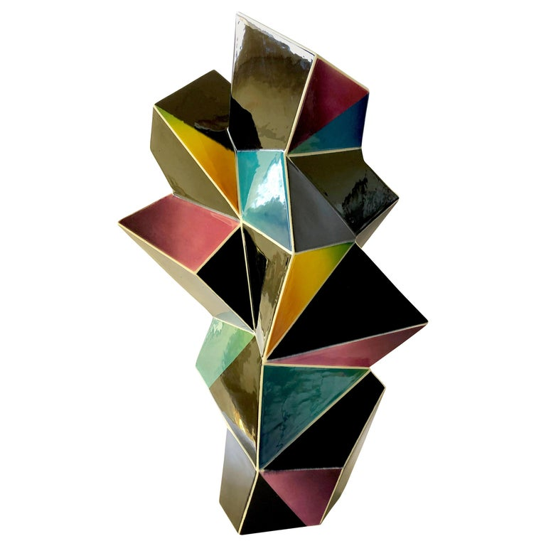 James Caswell Davis 1987 California Postmodernist Sculptural Ceramic Vase For Sale