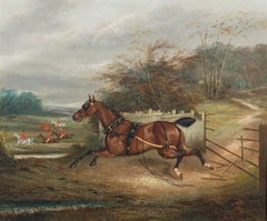 A runaway horse following the hunt