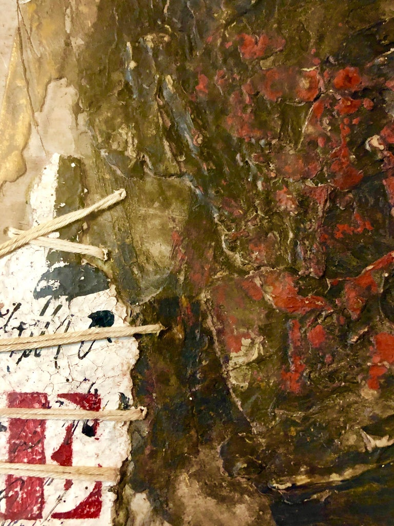 This is a mixed media abstract painting with string, plaster texture, stencilled letters in a bold typeface. Size includes frame.  James Coignard was born in Tours, France in 1925. At the age of three he moved to Paris with his parents.  As a child