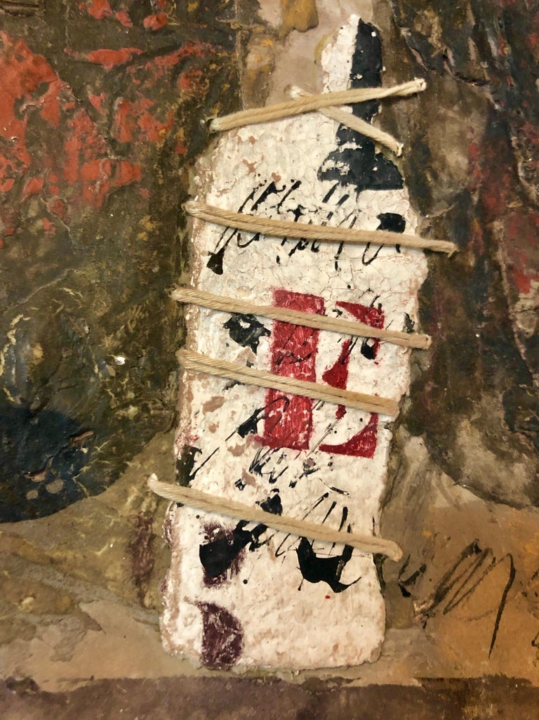 French Pop Art Modernist Textured Painting Abstract With Stencilled Letters For Sale 1