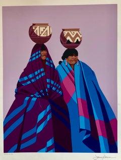 Native American Indian Family, Old Southwest Silkscreen Serigraph James Darum