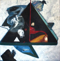 Black Pyramid, figurative oil painting on canvas