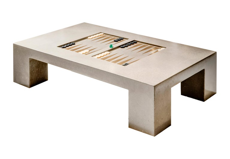 American James de Wulf Concrete Backgammon Coffee Table For Sale