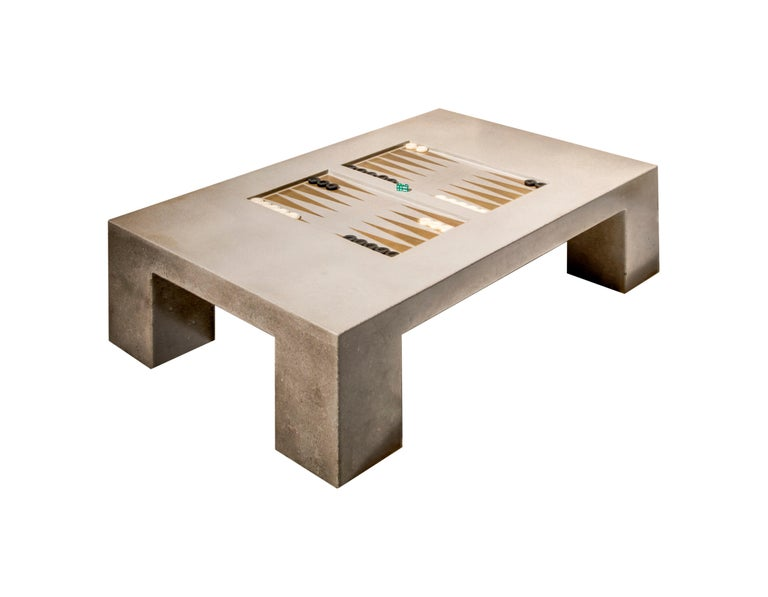 Polished James de Wulf Concrete Backgammon Coffee Table For Sale