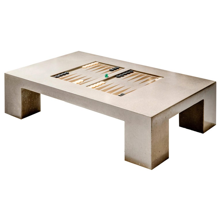 James de Wulf Concrete Backgammon Coffee Table For Sale