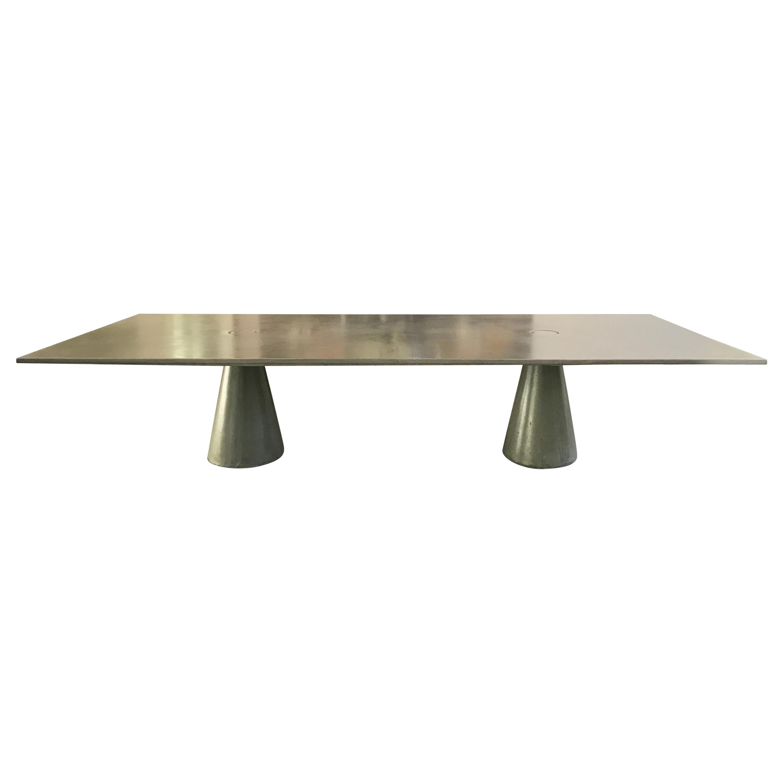 "James de Wulf Concrete Rectangular Double Locking Table, 140"""