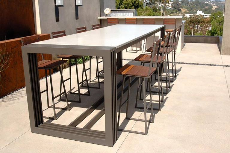 Cast James de Wulf Concrete Tall Workbench Dining Table, 132 x 42 For Sale