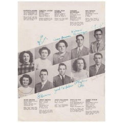 James Dean Original Autographed 1949 High School Yearbook Page