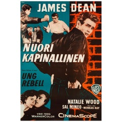 """James Dean """"Rebel Without A Cause"""" Original Vintage Movie Poster, Finnish, 1956"""