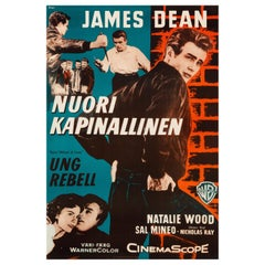 James Dean 'Rebel Without A Cause' Original Vintage Movie Poster, Finnish, 1956