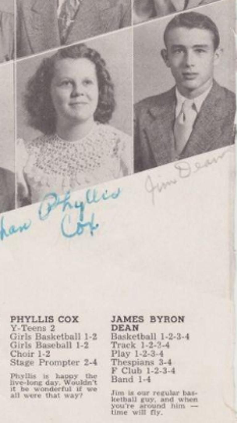 - James Dean's yearbook from Fairmount High School, 1949  - Rare signing of