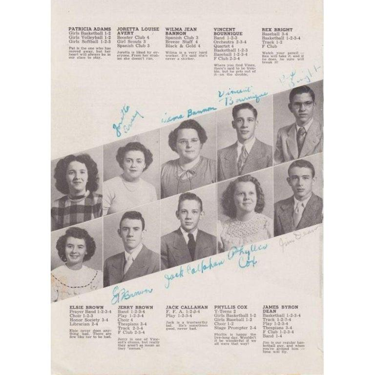 American James Dean Signed Yearbook Page For Sale
