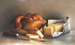 """""""Bread and Butter""""  Large Still Life of Bread, Butter and Knife on Gray/Tan"""