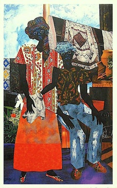 Backyard, Signed Original Lithograph, African American Heritage, Quilts