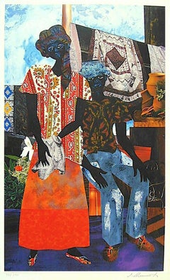 BACKYARD Signed Lithograph, Black Couple, African American Heritage, Quilts