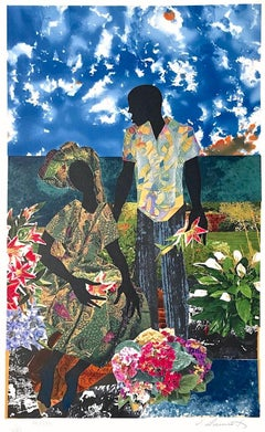 GARDEN ROMANCE Signed Lithograph, Black Couple Portrait, Lovers, Flower Garden