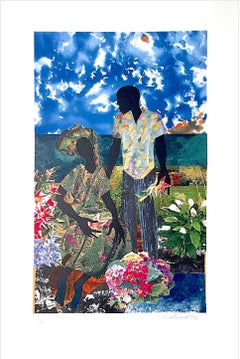 GARDEN ROMANCE Signed Lithograph, Black Couple Portrait, Lovers, Flower Garden
