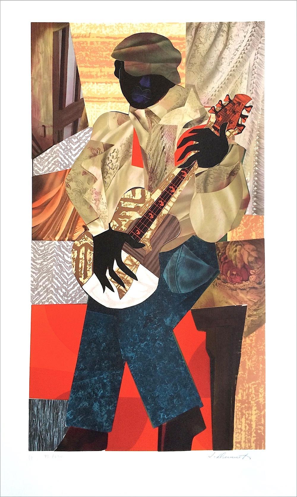HONKY TONK Signed Lithograph, Black Musician, Collage Portrait Blues Guitarist