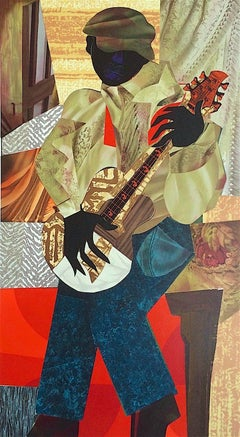 HONKY TONK Signed Hand Made Lithograph, Collage Figure Portrait, Blues Guitar