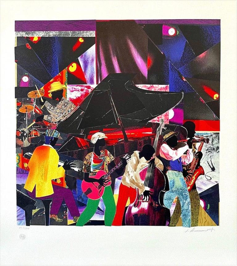 JUMPIN' & JIVIN' Signed Lithograph, Live Music Scene Band Night Club Grand Piano - Black Figurative Print by James Demark