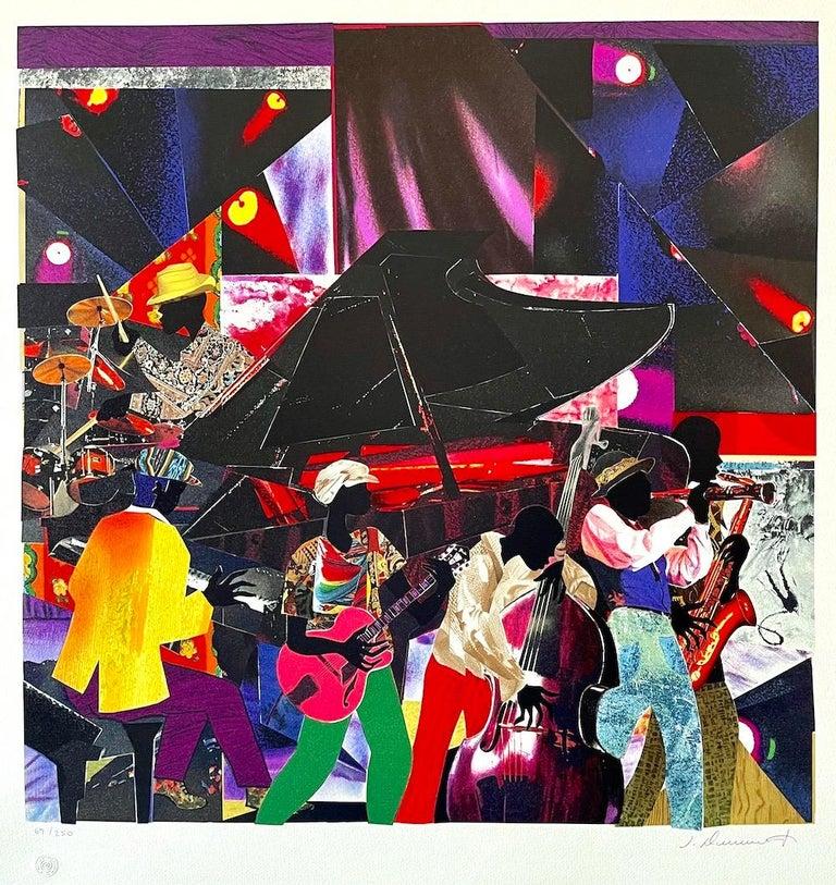 James Demark Figurative Print - JUMPIN' & JIVIN' Signed Lithograph, Live Music Scene Band Night Club Grand Piano