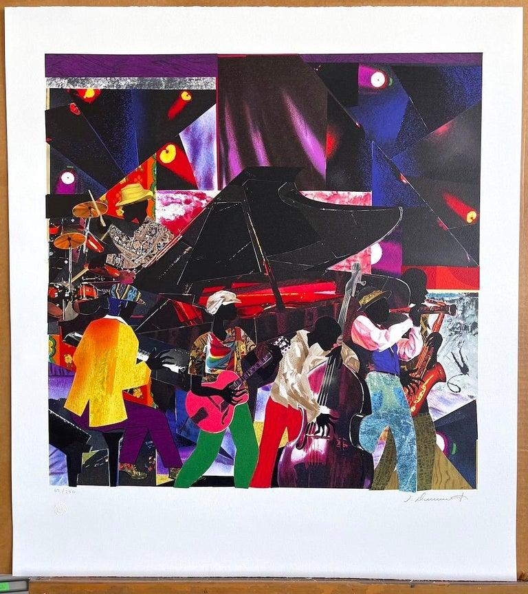 JUMPIN' & JIVIN' Signed Lithograph, Live Music Scene Band Night Club Grand Piano For Sale 3