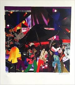 JUMPIN' & JIVIN' Signed Original Lithograph, Colorful Collage, Music, Night Club