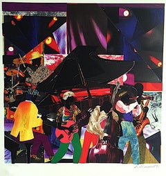 JUMPIN' & JIVIN' Signed Original Lithograph, Colorful Collage, Music, Night Club