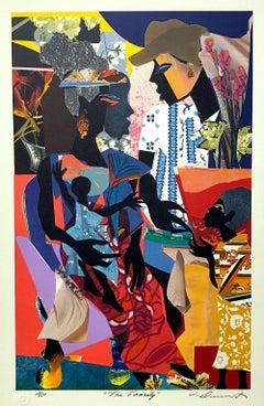 THE FAMILY Signed Lithograph, Black Family Portrait, Collage, African American