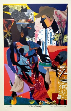 THE FAMILY, Signed Lithograph, Multicolor Collage, African American Heritage