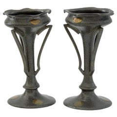James Dixon Pair of Arts & Crafts Brass Inlaid Pewter Vases, circa 1890