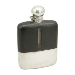 James Dixon's Silver Plated Gentleman's Hip Flask with Leather Cover