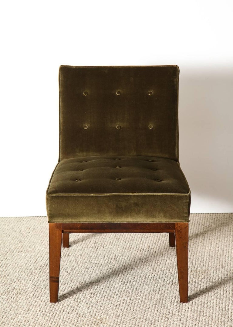Custom slipper chair by James Dolena. Dark stained wood frame and dark green velvet upholstery. Excellent condition, recently fully restored. From a private commission in Bel-Air, CA.