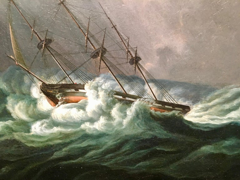 English ship in a rough sea - Painting by James Edward Buttersworth
