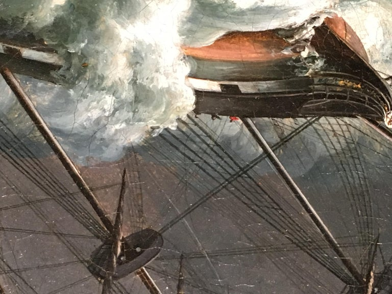 English ship in a rough sea - Victorian Painting by James Edward Buttersworth
