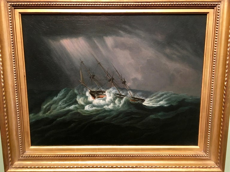James Edward Buttersworth Landscape Painting - English ship in a rough sea