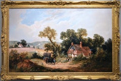 19th Century landscape oil painting of a horse & cart on a country track