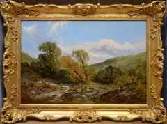 Summer by the Stream - 19th Century English Summer Landscape Oil Painting
