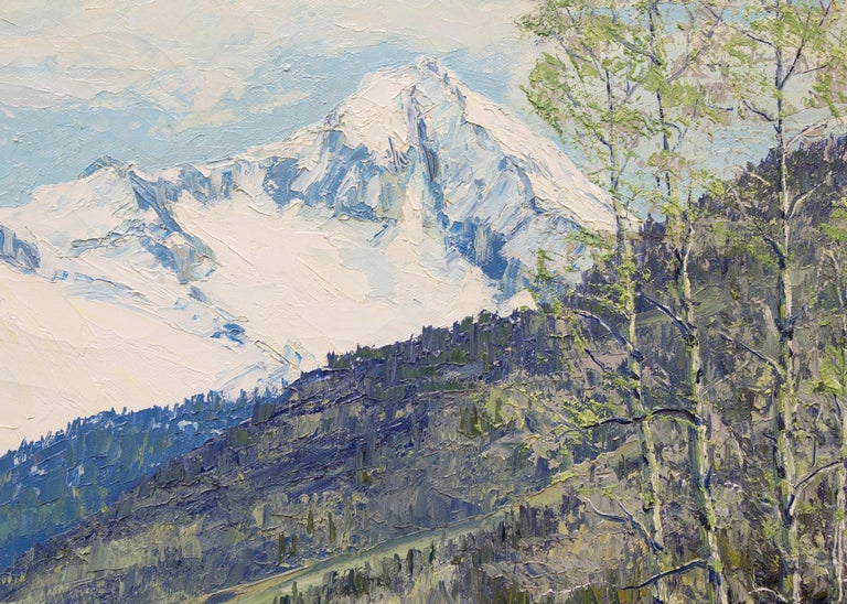 Renewal - Grizzly Peak San Juans (Colorado Mountain Landscape in Spring) - Gray Landscape Painting by James Emery Greer