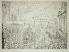 Capture of a strange town - Original Etching by James Ensor - 1888